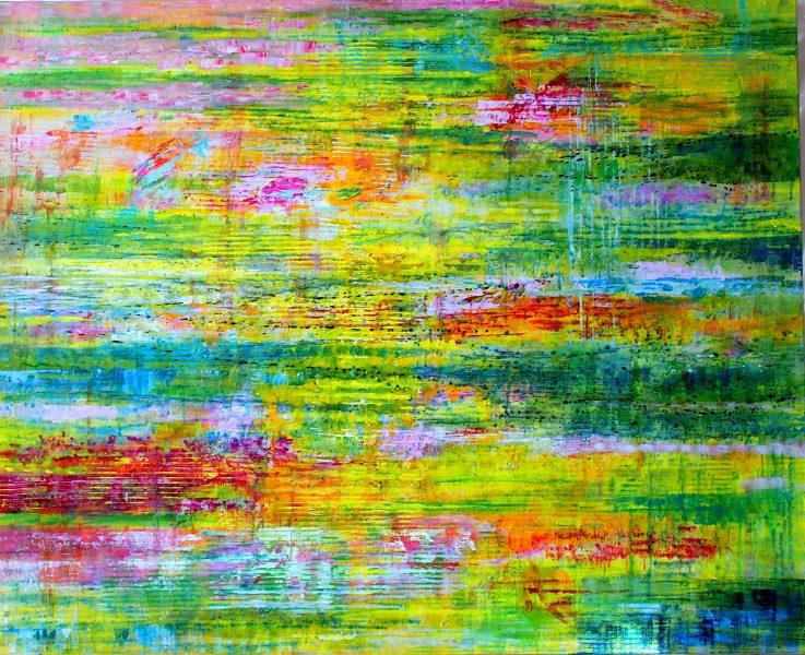 Reflets verts - Acrylique / Toile 81 x 100 - Ref 197