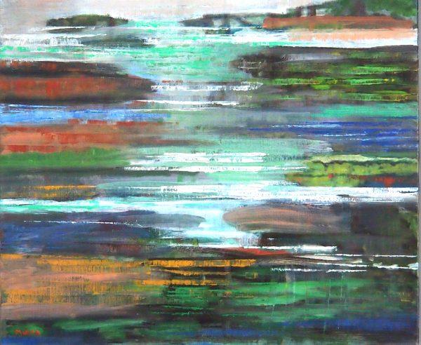 La Mare Reflets de lune - Acrylique / Toile 46 x 55 - Ref 208