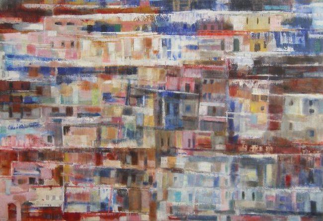 Maisons du sud - Huile / Toile 90 x 130 - 2006 - Ref 11